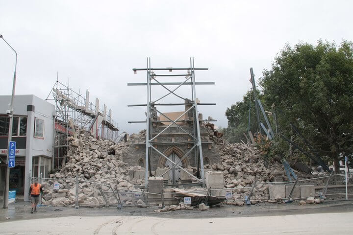 Church building collapse after February earthquake in Christchurch